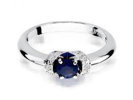 złoty pierścionek z szafirem naturalnym i brylantami złoto białe próba 0.585 14ct