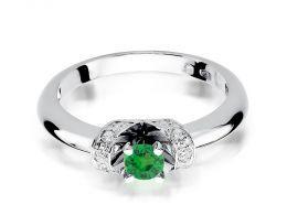 pierścionek na zaręczyny z białego złota szmaragd naturalny kamień szlachetny brylanty wysokiej jakości złoto białe próba 0.585