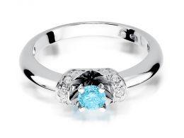 złoty pierścionek z białego złota z topazem naturalnym i brylantami