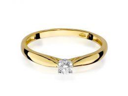 złoty pierścionek zaręczynowy klasyczny złoto żółte próba 0.585 brylant pierścionki zaręczynowe klasyczne