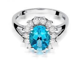 złoty pierścionek z topazem naturalnym topaz brylanty diamenty ekskluzywny duża korona zaręczyny pierścionek zaręczynowy prezent