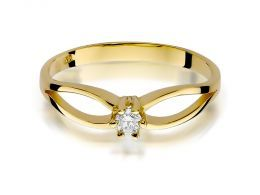 złoty pierścionek zaręczynowy z brylantem diamentem diament brylant diamentami na palcu na ręce złoto żółte próba 0.585 14ct nowoczesny wzór pierścionka