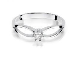 złoty pierścionek zaręczynowy z brylantem diamentem diament brylant diamentami na palcu na ręce złoto białe próba 0.585 14ct nowoczesny wzór pierścionka