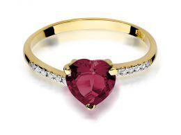pierścionek złoty z serduszkiem sercem z rubinem rubin z brylantami diamentami na palcu na ręce realne zdjęcie zdjęcia klasyczny wzór brylanty diamenty złoto żółte próba 0.585 14k