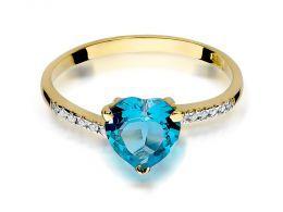 złoty pierścionek z serduszkiem sercem topazem topaz brylantami brylanty diamenty z diamentami złoto żółte pierścionek zaręczynowy