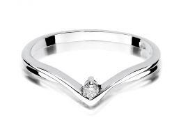 złoty pierścionek zaręczynowy z białego złota nowoczesny wzór z brylantem diamentem złoto białe próba 0.585 pierścionki zaręczynowe klasyczne