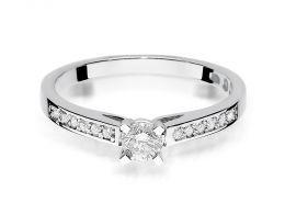 złoty pierścionek zaręczynowy z brylantami diamentami na palcu na ręce złoto białe próba 0.585 14ct klasyczny wzór pierścionka