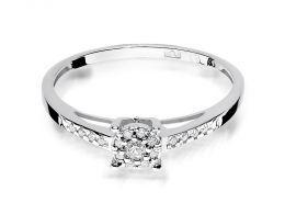 elegancki złoty pierścionek zaręczynowy z białego złota złoto białe z brylantami diamentami zaręczyny pierścionki złote zaręczynowe delikatne zmysłowe na palcu realne zdjęcia