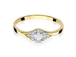 elegancki złoty pierścionek zaręczynowy z brylantami diamentami zaręczyny pierścionki złote zaręczynowe delikatne zmysłowe na palcu realne zdjęcia