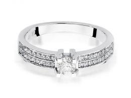 ekskluzywny pierścionek złoty zaręczynowy z brylantami diamentami z białego złota szeroka szyna gruby szeroki złoto białe pierścionek na palcu ręce
