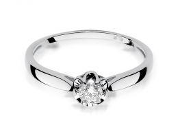 złoty pierścionek zaręczynowy z brylantem diamentem na palcu na ręce złoto białe próba 0.585 14ct nowoczesny wzór pierścionka