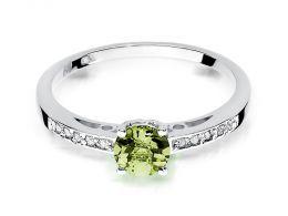 pierścionek złoty z brylantami diamentami oliwinem oliwin na palcu na ręce realne zdjęcie zdjęcia klasyczny wzór brylanty diamenty złoto białe próba 0.585 14k