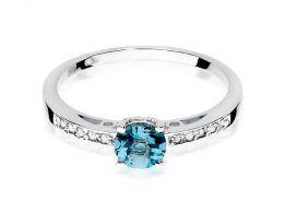 ekskluzywny złoty pierścionek z brylantami z diamentami z topazem topaz brylant diament na palcu na ręce złoto białe złoto białe pierścionki z brylantami diamentami zaręczynowe