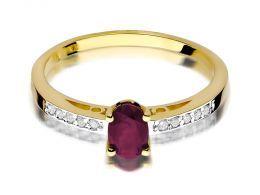 złoty pierścionek zaręczynowy z rubinem brylantami diamentami diament brylant rubin klasyczny złoto żółte próba 0.585 pierścionki zaręczynowe klasyczne