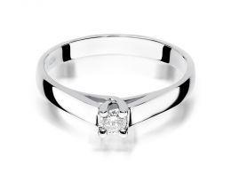 złoty pierścionek zaręczynowy klasyczny wzór z brylantami diamentami z brylantem diamentemna palcu na ręce złoto białe próba 0.585 14ct nowoczesny wzór pierścionka