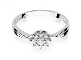 złoty pierścionek zaręczynowy markiza kwiat kwiatek z brylantami diamentami na palcu na ręce złoto białe próba 0.585 14ct nowoczesny wzór pierścionka