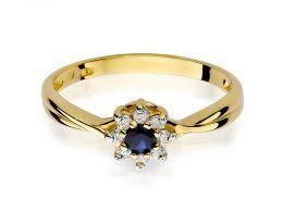 złoty pierścionek zaręczynowy kwiat kwiatek z szafirem szafir z brylantem diamentem na dłoni realne zdjęcie klasyczny złoto żółte próba 0.585 brylant diament pierścionki zaręczynowe klasyczne