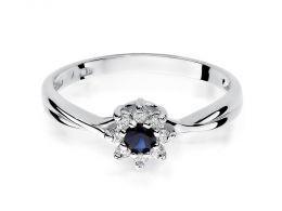złoty pierścionek zaręczynowy kwiat kwiatek z szafirem szafir z brylantem diamentem na dłoni realne zdjęcie klasyczny złoto białe próba 0.585 brylant diament pierścionki zaręczynowe klasyczne