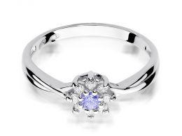 złoty pierścionek zaręczynowy z tanzanitem tanzanit brylantami diamentami na palcu na ręce złoto białe próba 0.585 14ct nowoczesny wzór pierścionka