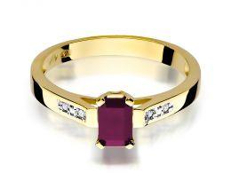 złoty pierścionek zaręczynowy z rubinem rubin z brylantami diamentami na palcu na ręce złoto żółte próba 0.585 14ct klasyczny nowoczesny wzór pierścionka
