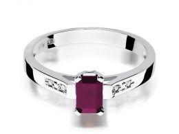 złoty pierścionek zaręczynowy z rubinem rubin z brylantami diamentami na palcu na ręce złoto białe próba 0.585 14ct klasyczny nowoczesny wzór pierścionka