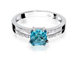 złoty pierścionek zaręczynowy z topazem topaz z brylantami diamentami na palcu na ręce złoto białe próba 0.585 14ct nowoczesny wzór pierścionka
