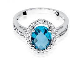 złoty pierścionek zaręczynowy z topazem brylantami duża korona topaz brylanty realne zdjęcie na dłoni palcu