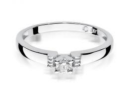 złoty pierścionek zaręczynowy z brylantem brylantami klasyczny złoto białe próba 0.585 pierścionki zaręczynowe klasyczne realne zdjęcie na palcu
