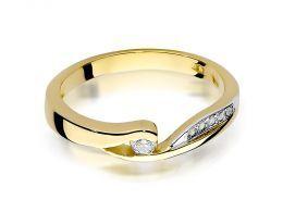 złoty pierścionek zaręczynowy z brylantami diamentami na palcu na ręce złoto żółte próba 0.585 14ct nowoczesny klasyczny wzór pierścionka