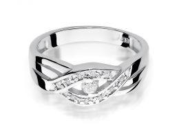 złoty pierścionek zaręczynowy z brylantami diamentami na palcu na ręce złoto białe próba 0.585 14ct nowoczesny wzór pierścionka