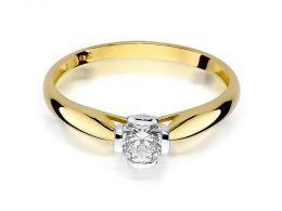 złoty pierścionek zaręczynowy z brylantem diamentem na dłoni realne zdjęcie klasyczny złoto żółte próba 0.585 brylant diament pierścionki zaręczynowe klasyczne
