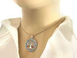 wisiorek srebrny z opalem opal niebieski drzewko szczęścia zawieszka srebrna na łańcuszek na szczęście prezent dla dziewczyny żony koleżanki na urodziny imieniny rocznicę zawieszki złote serduszka na walentynki pod choinkę na Mikołaja prezent