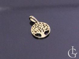 drzewko szczęścia symbol okrągła zawieszka kółko wisiorek na łańcuszek złoto żółte próba 0.585