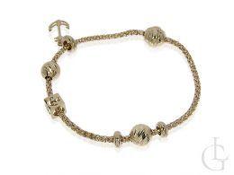 bransoletka złota damska ekskluzywna z kotwicą, kostkami i cyrkoniami złoto żółte 14ct 0.585