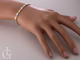 elegancka bransoletka damska szeroka na nadgarstku na ręce złoto żółte złoto białe próba 0.585 14ct