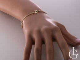 bransoletka na ręce na nadgarstku bransoletka złota damska podwójny łańcuszek motyl motylki złoto żółte próba 0.585