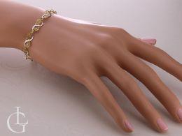 elegancka i delikatna bransoletka złota damska na nadgarstku na ręce złoto żółte złoto białe próba 0.585 14K złote bransoletki damskie na prezent