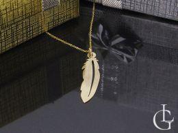 złoty naszyjnik celebrytka łańcuszek z wisiorkiem pióro piórko złoto żółte próba 0.585 14ct
