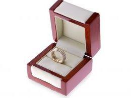 obrączka złota pierścionek w pudełku cyrkonie złoto żółte, białe, różowe 14K 0.585 szeroka szyna