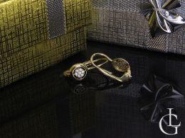 kolczyki złote wiszące kółka cyrkonie złoto żółte komunia chrzest prezent dla dziecka dziewczynki