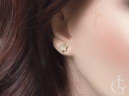złote kolczyki kwiatki kwiatuszki na uchu na sztyft wkrętki złoto żółte diamentowane próba 0.585 14ct