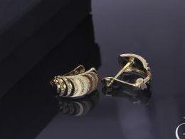 złote kolczyki diamentowane na angielskie zapięcie złoto żółte i białe próba 0.585 prezent dla żony dziewczyny