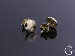 kolczyki złote kółka kółeczka z cyrkoniami cyrkonie złoto żółte zapięcie sztyft