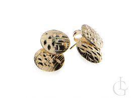złote kolczyki kółeczka diamentowane na sztyft złoto żółte próba 0.585