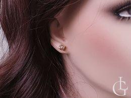 złote kolczyki kostki na uchu zapięcie sztyft wkrętki złoto żółte próba 0.585 14ct