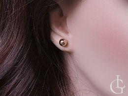 złote kolczyki kulki na sztyft wkręty na uchu złoto żółte próba 0.585 14K