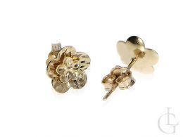 złote kolczyki kwiatki kwiatuszki diamentowane na sztyft na wkrętki złoto żółte próba 0.585 14ct