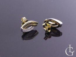 kolczyki złote z cyrkoniami do kompletu wisiorka zawieszki złoto żółte białe cyrkonie