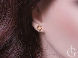 złote serduszka kolczyki diamentowane na uchu na wkrętki złoto żółte 0.585 14K