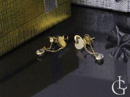 złote kolczyki serduszka wiszące na łańcuszku z cyrkoniami złoto żółte próba 0.585 14k zapięcie wkrętki sztyft